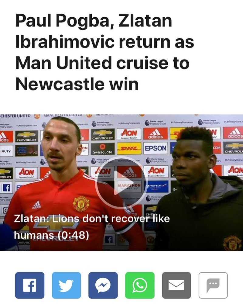 Lions do not recover like men #mu #manutd #mufc #zlatan #pogba #epl #lions #su …