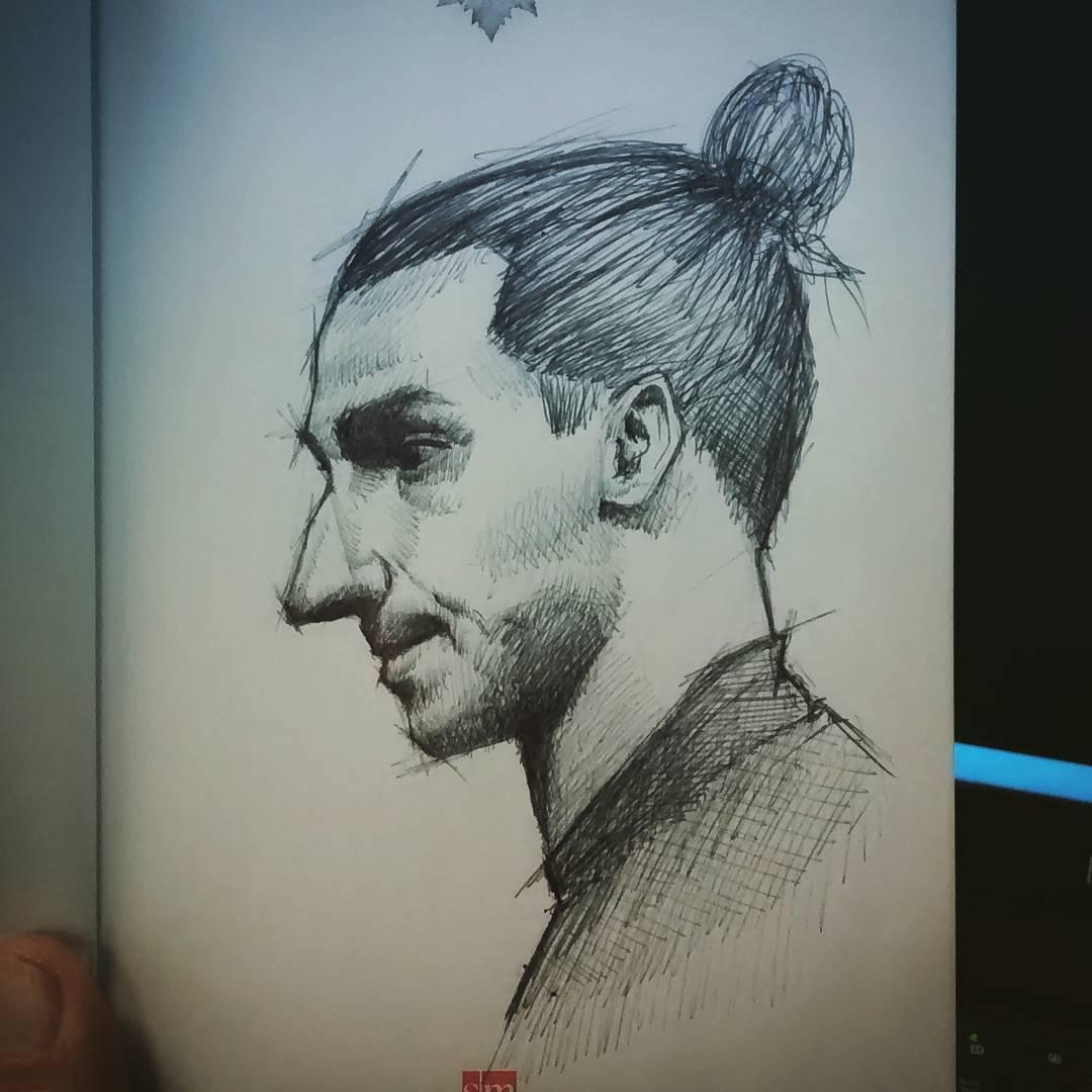 Drawing n3. . . #sketch #boceto #ink #lapicera #pen #zlatan #zlatanibrahimovi …