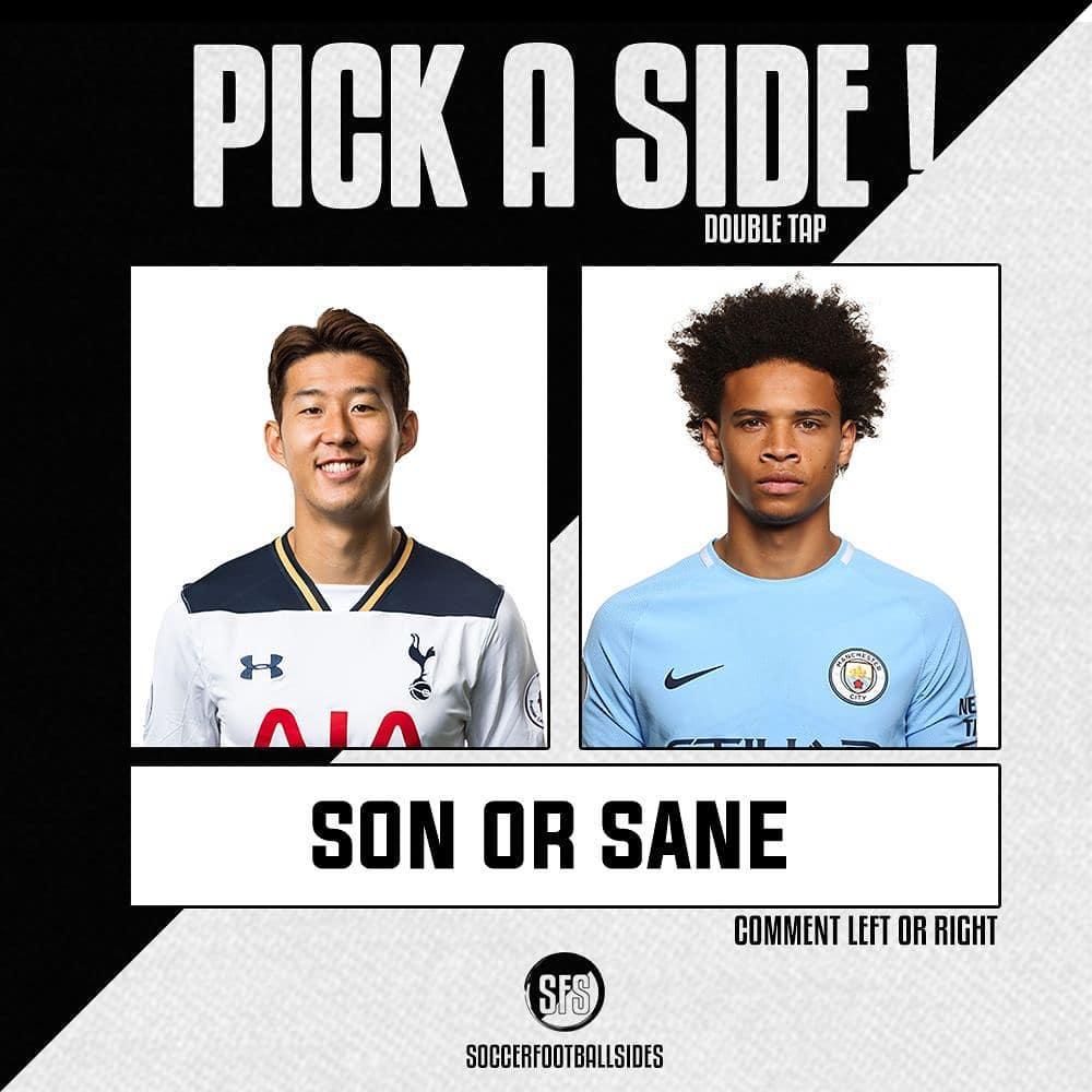 ถึงเวลาที่จะเลือกข้าง! ติดตาม @soccerfootballsides @ hm_son7 @ leroysane19 …