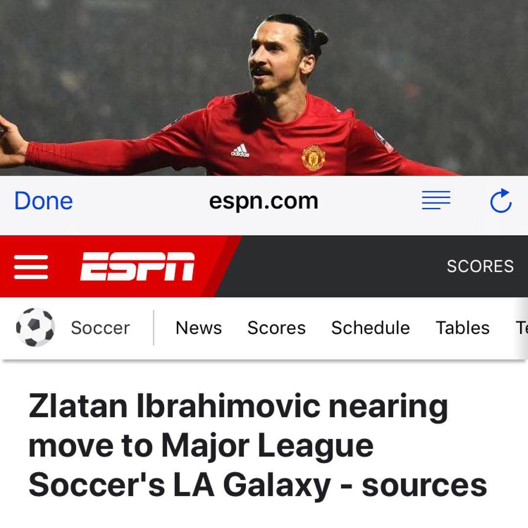 ESPN อ้างว่า #zlatanibrahimovic กำลังจะย้าย #lagalaxy …