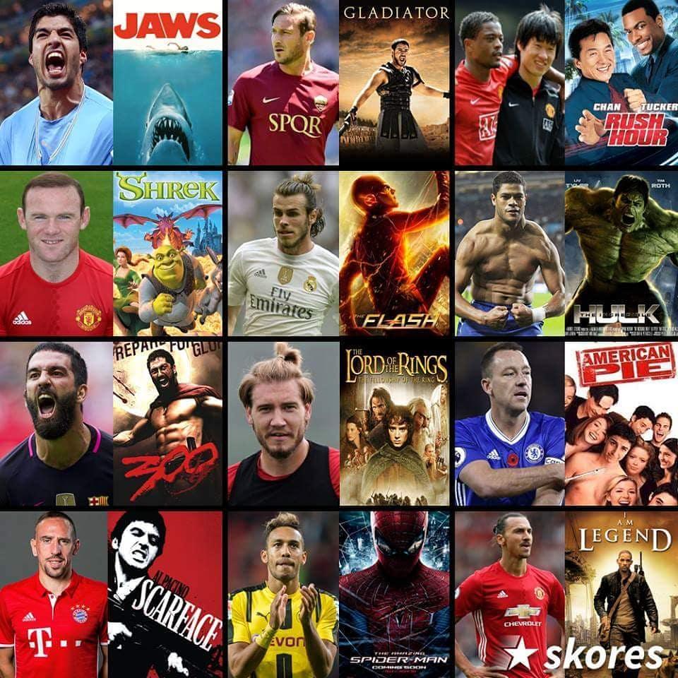 ภาพยนตร์และนักฟุตบอล! #suarez #totti #rooney #bale #hulk #ardaturan #terr …