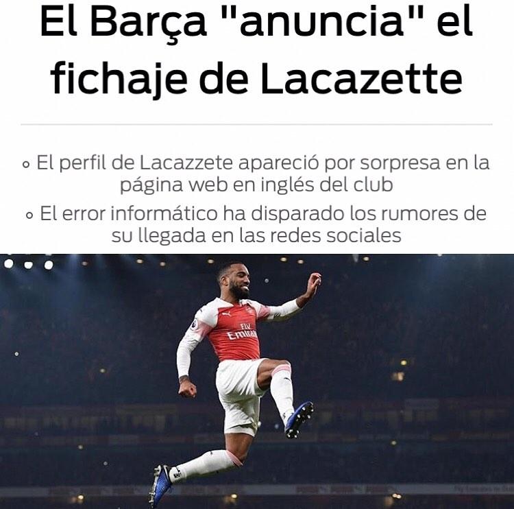 ข้อผิดพลาดของคอมพิวเตอร์ในเว็บไซต์ @fcbarcelona ตั้งแต่ @lacazettealex pitcher …