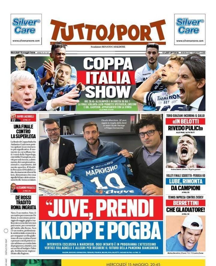 """หน้าแรก #Tuttosport # """"# แน่ใจเอา #Klopp และ #Pogba"""" #CoppaItalia …"""