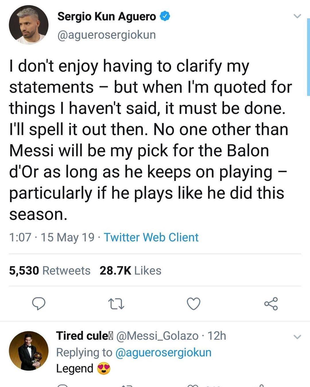 Aguero ทวีตเกี่ยวกับ Balloon D'or ทำเครื่องหมายเพื่อนเพื่อดูสิ่งนี้ @ tyler_soccer Follo …