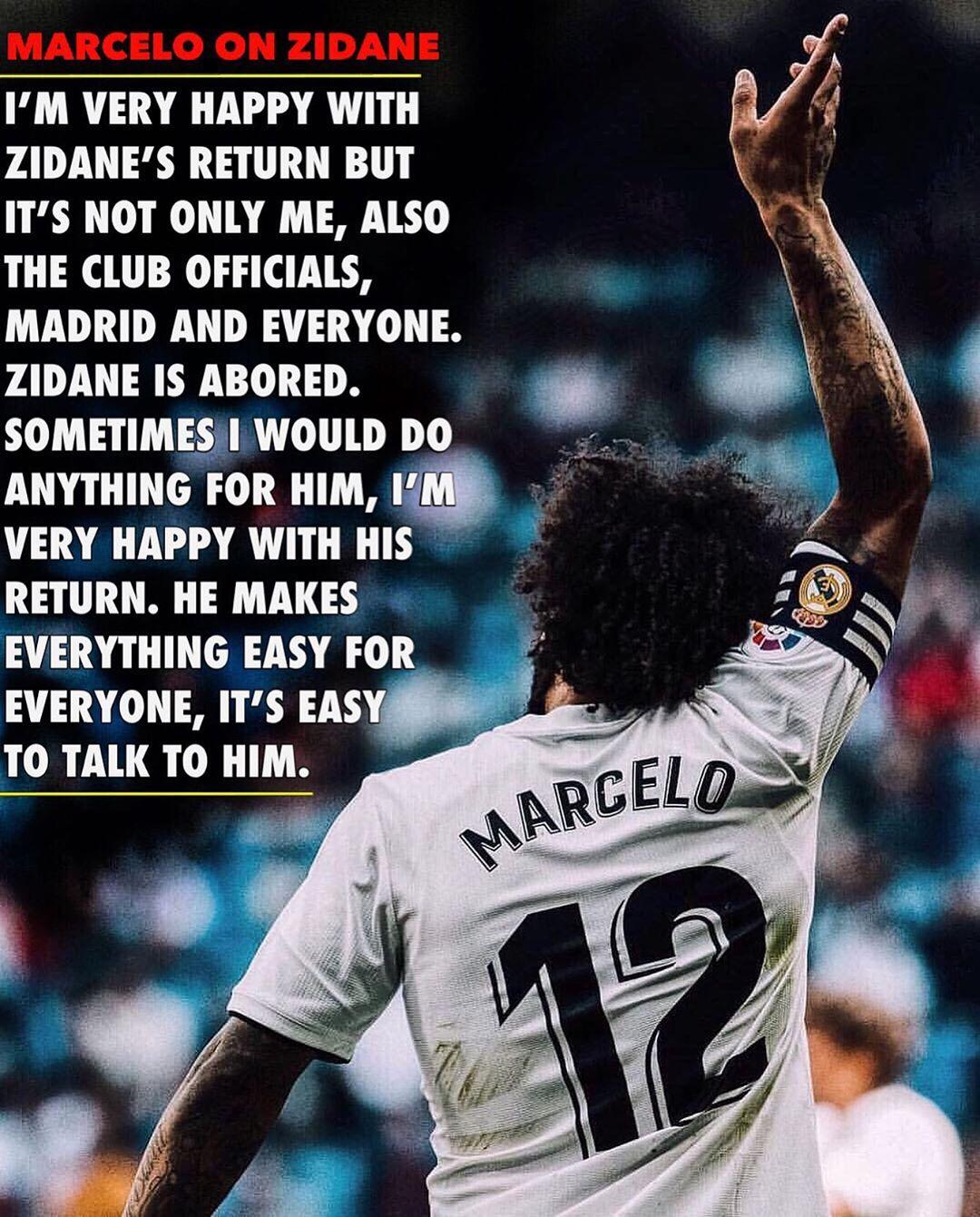 "Marcelo on Zidane: ""ไม่เพียง แต่เขาเป็นอดีตผู้เล่นเท่านั้น แต่เขายังดีที่สุด …"