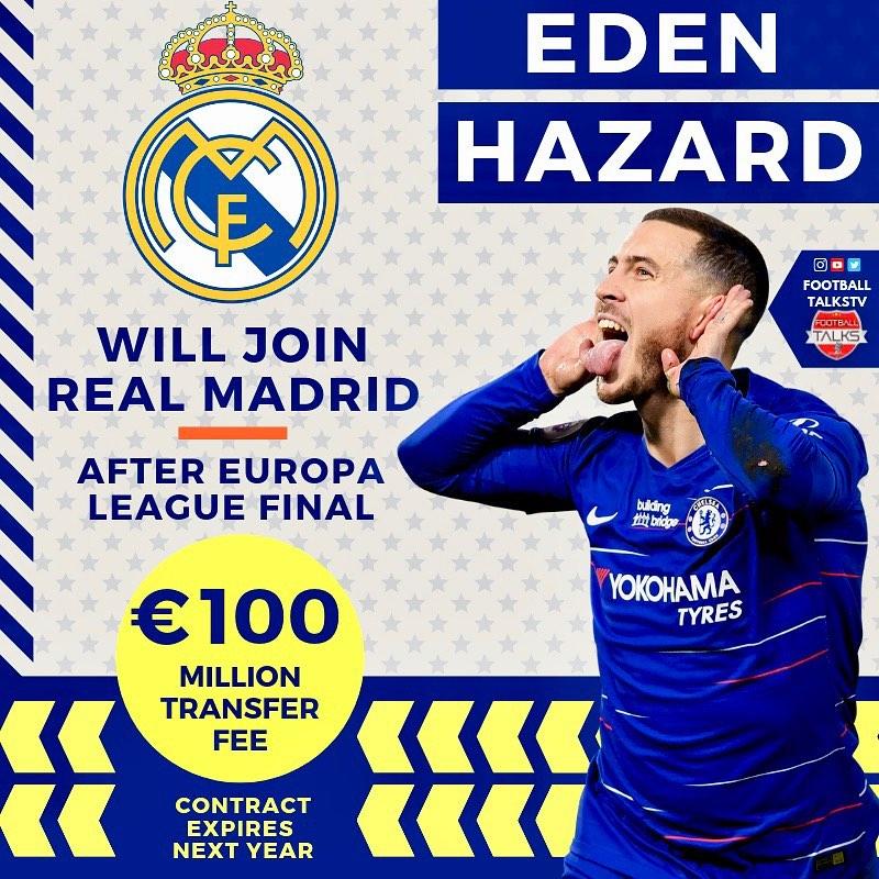 denEden Hazard ️ Real Madrid จะประกาศหลังจาก Europa Le …
